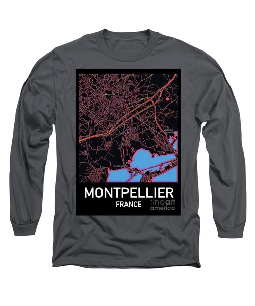 Montpellier City Map Long Sleeve T-Shirt