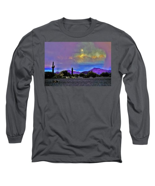 Moon At Sunset In The Desert Long Sleeve T-Shirt