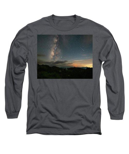 Moonset Milky Way And Shooting Star Long Sleeve T-Shirt