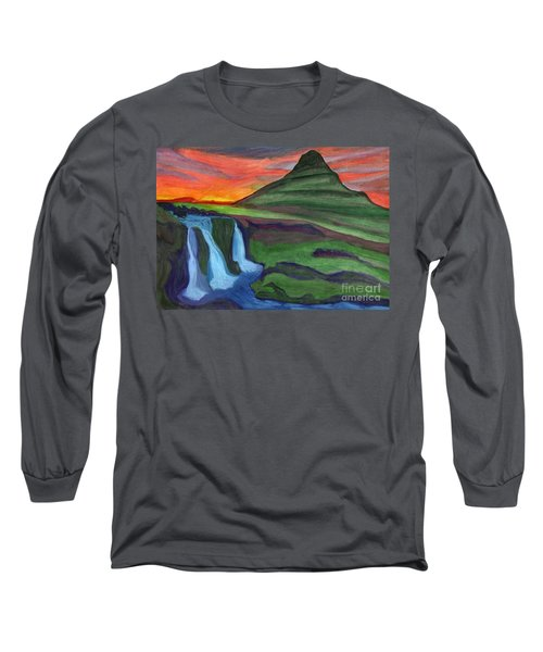 Mountain And Waterfall In The Rays Of The Setting Sun Long Sleeve T-Shirt