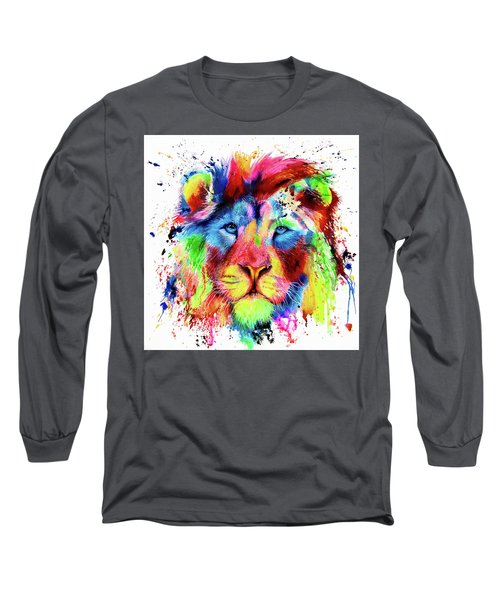 Neon Lion - Colourful Ink Spatter Painting Long Sleeve T-Shirt