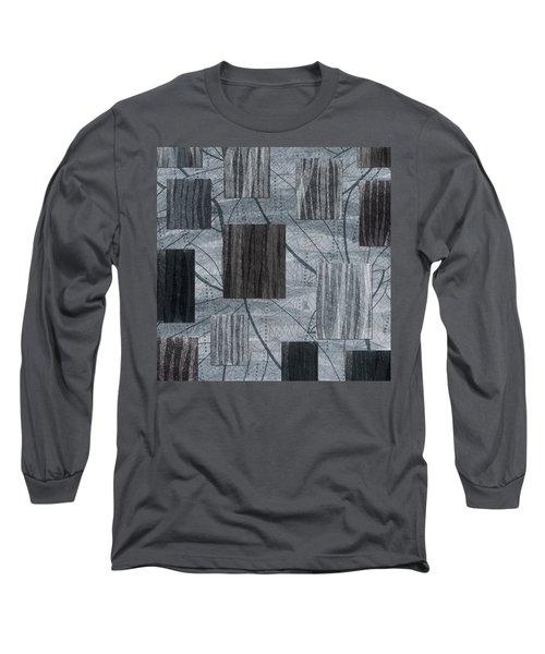Neutral Toned Leaf Square Print Long Sleeve T-Shirt