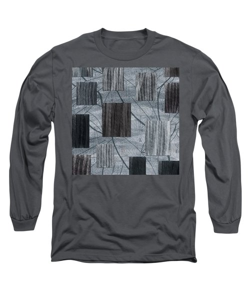 Neutral Toned Leaf Square Print Long Sleeve T-Shirt