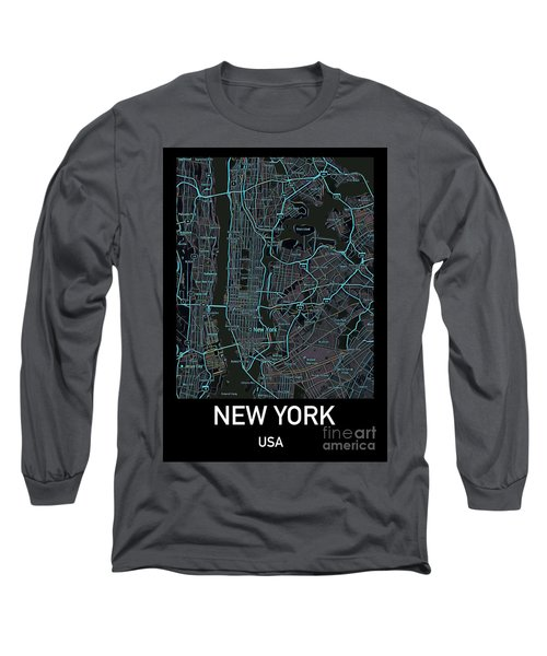 New York City Map Black Edition Long Sleeve T-Shirt