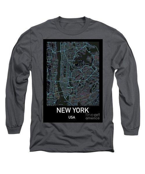 New York City Map Black Edition Long Sleeve T-Shirt