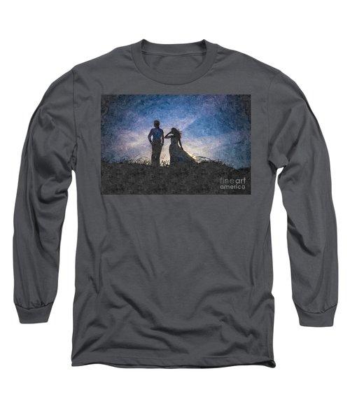 Newlywed Couple After Their Wedding At Sunset, Digital Art Oil P Long Sleeve T-Shirt