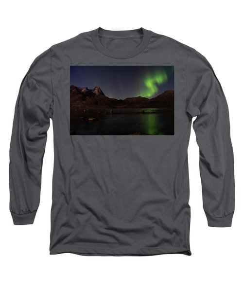 Northern Lights Aurora Borealis In Norway Long Sleeve T-Shirt