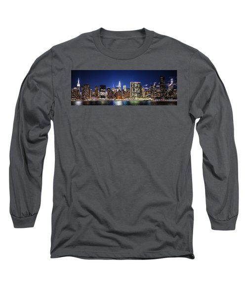 Long Sleeve T-Shirt featuring the photograph Nyc Nightshine by Theodore Jones