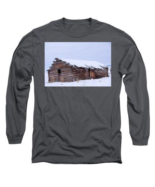 Old Log Cabin Cabin In Snowfall Long Sleeve T-Shirt