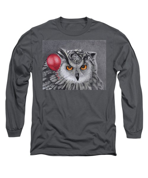 Owl With The Red Balloon Long Sleeve T-Shirt