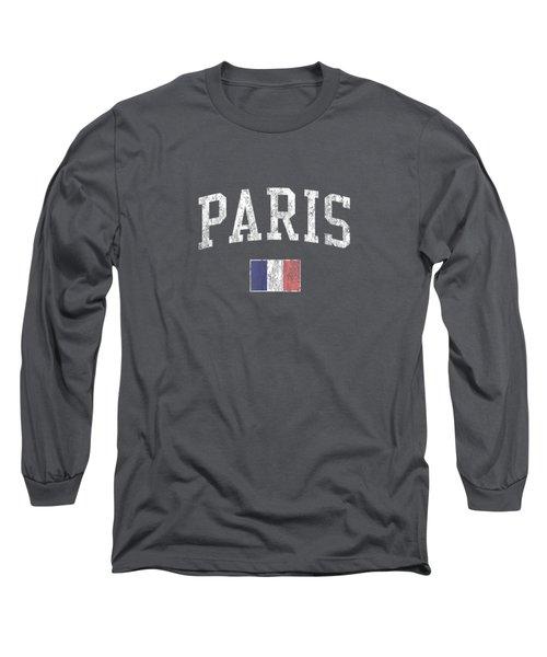 Paris France T-shirt Vintage Sports Design French Flag Tee Long Sleeve T-Shirt