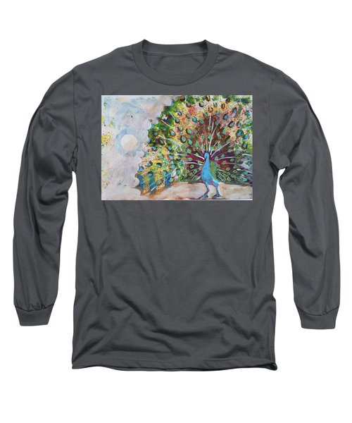 Peacock In Morning Mist Long Sleeve T-Shirt