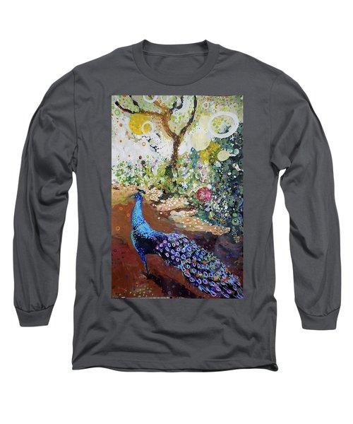 Peacock On Path Long Sleeve T-Shirt