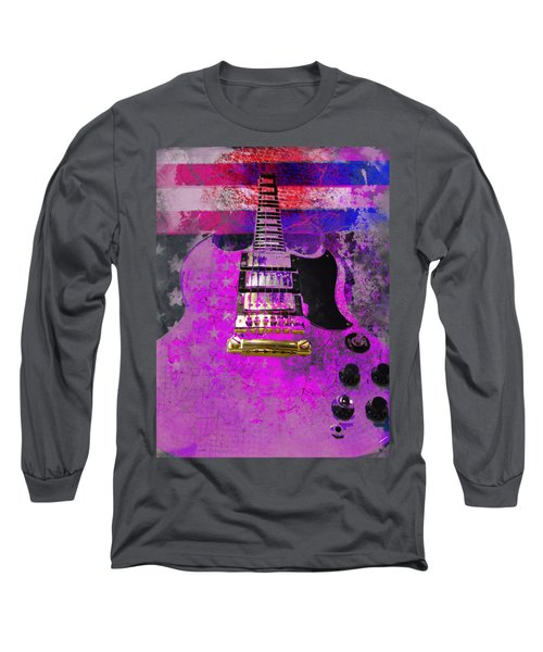 Pink Guitar Against American Flag Long Sleeve T-Shirt