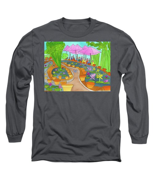 Pink Umbrella And Lilies Long Sleeve T-Shirt