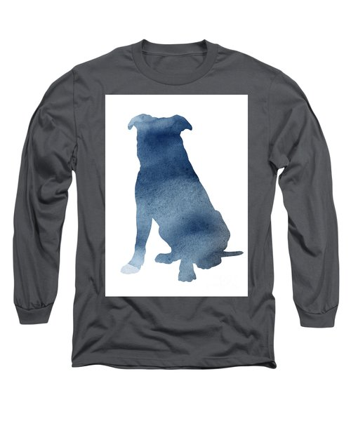 Pitbull Navy Blue Poster Dog Illustration Animal Home Art Long Sleeve T-Shirt