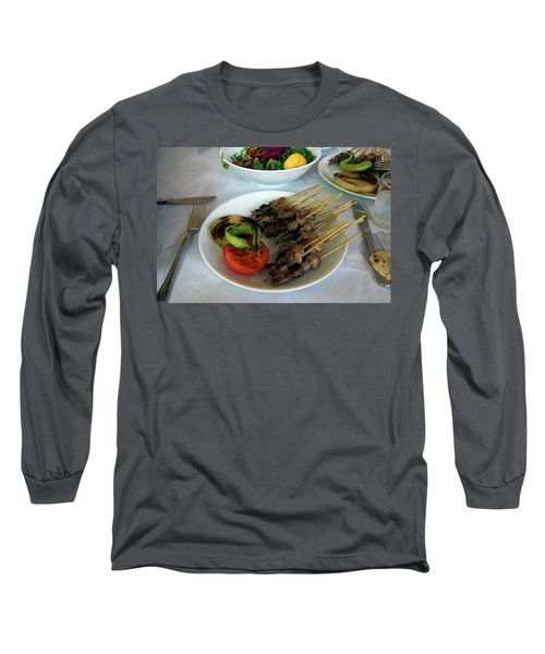Plate Of Kebabs And Salad For Lunch Long Sleeve T-Shirt