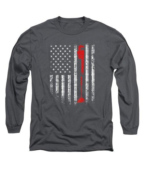 Plumber American Flag, Vintage T-shirt Long Sleeve T-Shirt