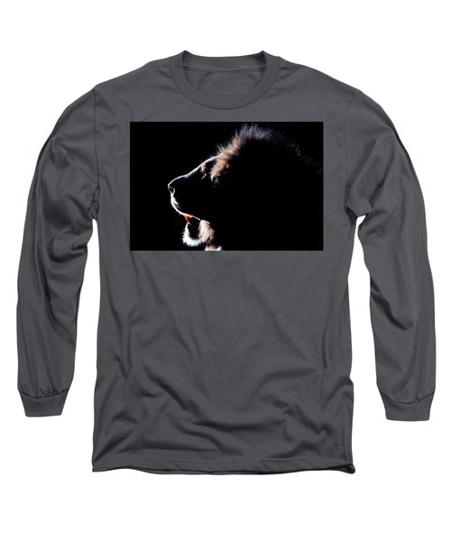 Portrait Of A Backlit Male African Lion Long Sleeve T-Shirt