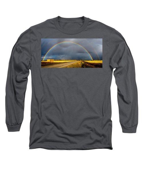 Rainbow Over Crop Land Long Sleeve T-Shirt