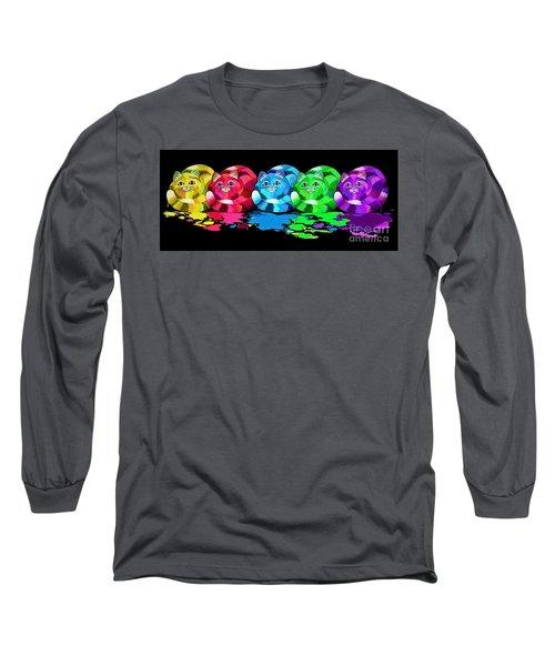 Rainbow Painted Cats Long Sleeve T-Shirt