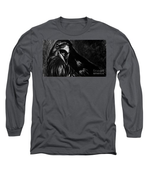Long Sleeve T-Shirt featuring the drawing Raven by Michael Cross