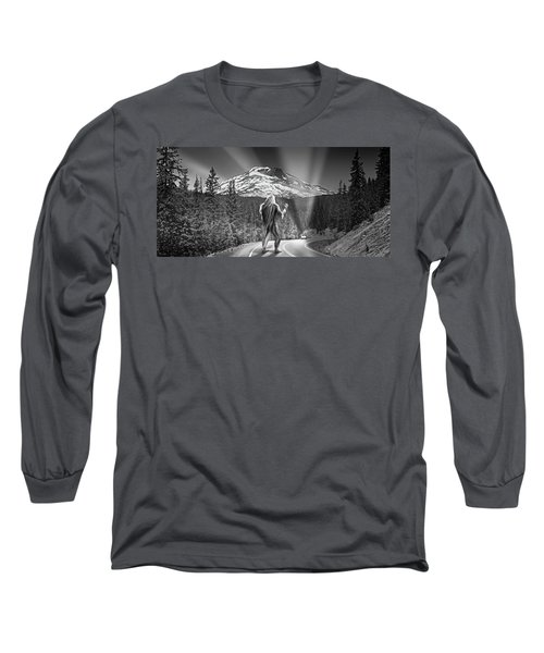 Rear View Of A Sasquatch Hitchhiking Long Sleeve T-Shirt