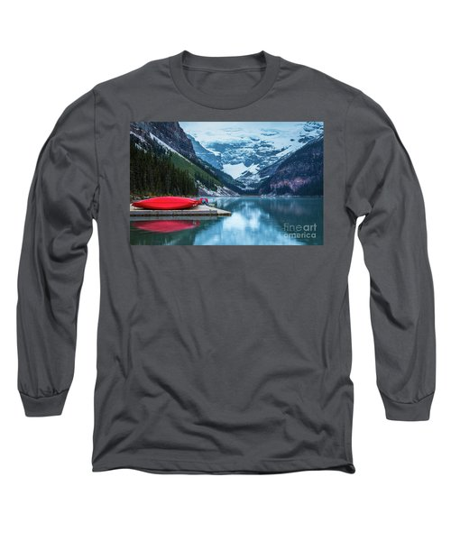 Red Canoes In The Rain Long Sleeve T-Shirt