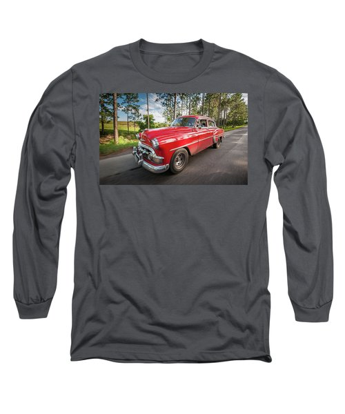 Red Classic Cuban Car Long Sleeve T-Shirt