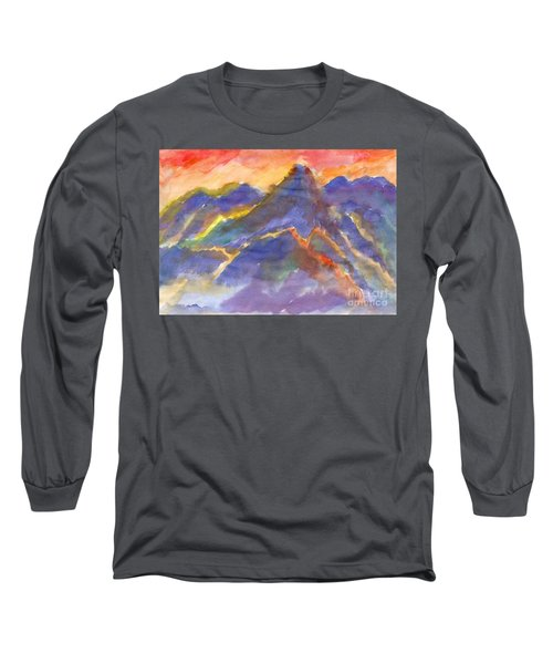 Red Sunset In The Mountains Long Sleeve T-Shirt