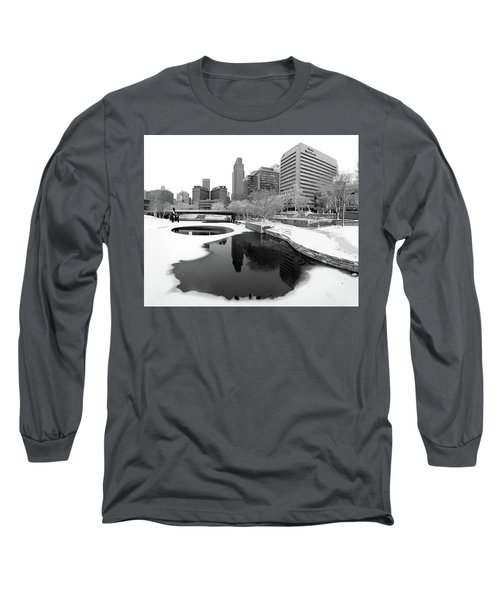 Reflection Of Omaha - Winter - Black And White Long Sleeve T-Shirt