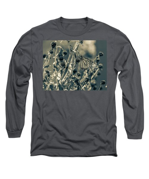 Resting Butterfly Bw Long Sleeve T-Shirt