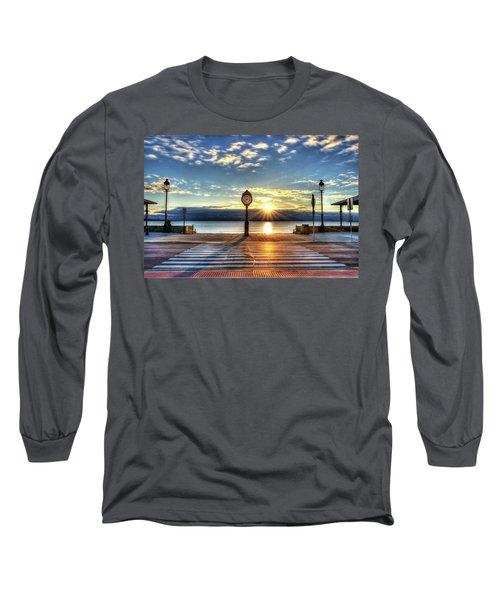 Revere Beach Clock At Sunrise Angled Long Shadow Revere Ma Long Sleeve T-Shirt