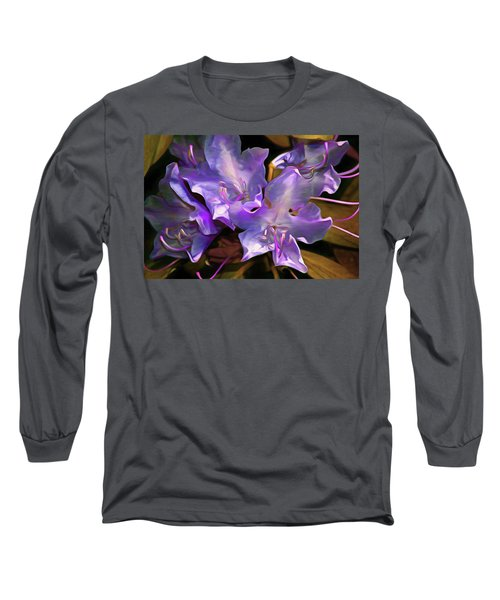 Long Sleeve T-Shirt featuring the mixed media Rhododendron Glory 17 by Lynda Lehmann