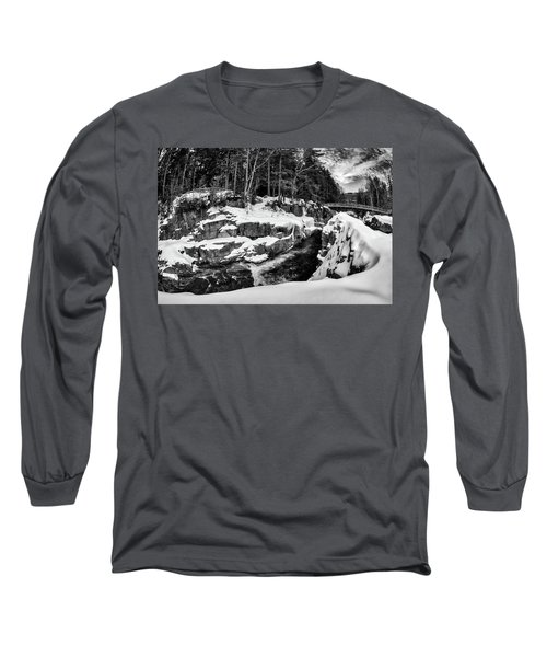 Long Sleeve T-Shirt featuring the photograph Rocky Gorge Foot Bridge N H by Michael Hubley