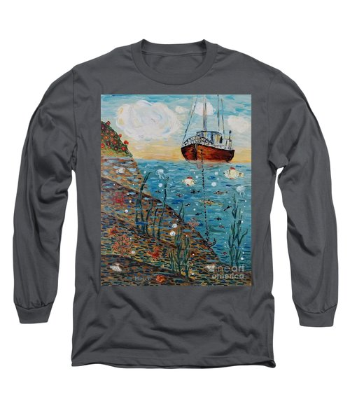 Long Sleeve T-Shirt featuring the painting Safe Harbor by Maria Langgle