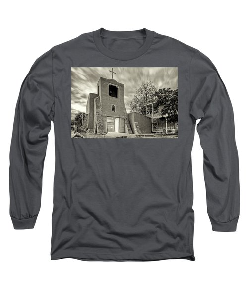 San Miguel Mission And Chapel - Santa Fe The City Different New Mexico Land Of Enchantment Long Sleeve T-Shirt