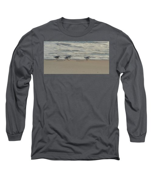 Sanderlings At Assateague Island National Seashore I 1x2 Long Sleeve T-Shirt
