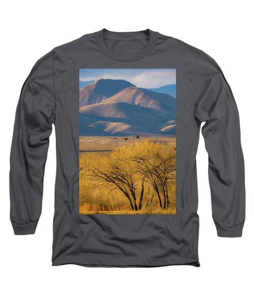 Sandhill Cranes Near The Bosque Long Sleeve T-Shirt