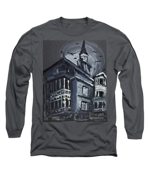 Long Sleeve T-Shirt featuring the painting Scary Old House by Maria Langgle