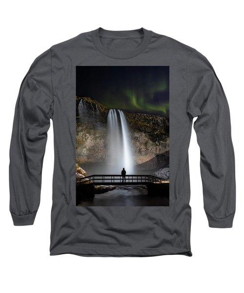 Seljalandsfoss Northern Lights Silhouette Long Sleeve T-Shirt