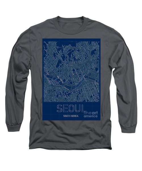 Seoul Blueprint City Map Long Sleeve T-Shirt