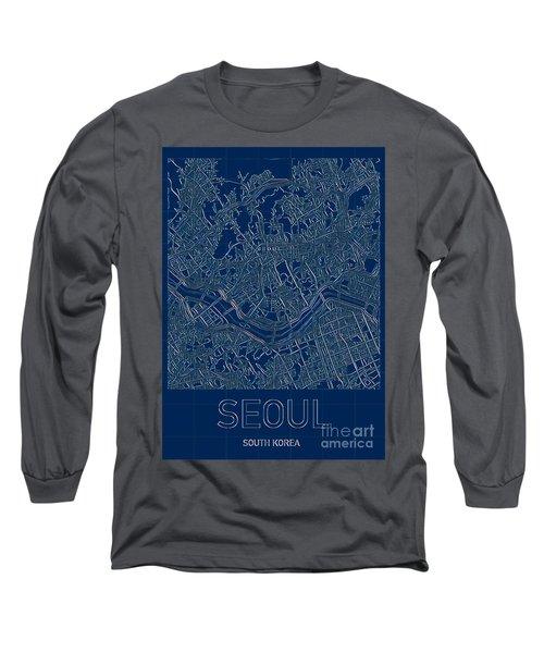 Seoul Blueprint City Map Long Sleeve T-Shirt