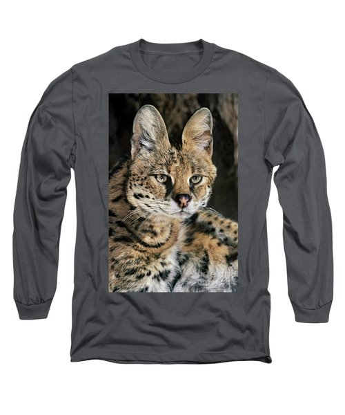 Serval Portrait Wildlife Rescue Long Sleeve T-Shirt