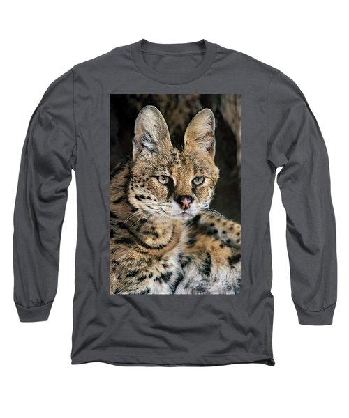 Serval Portrait Wildlife Rescue Long Sleeve T-Shirt