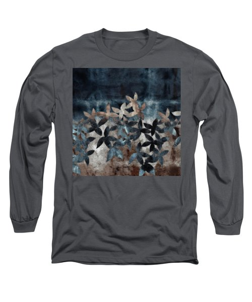 Shibori Leaves Indigo Print Long Sleeve T-Shirt