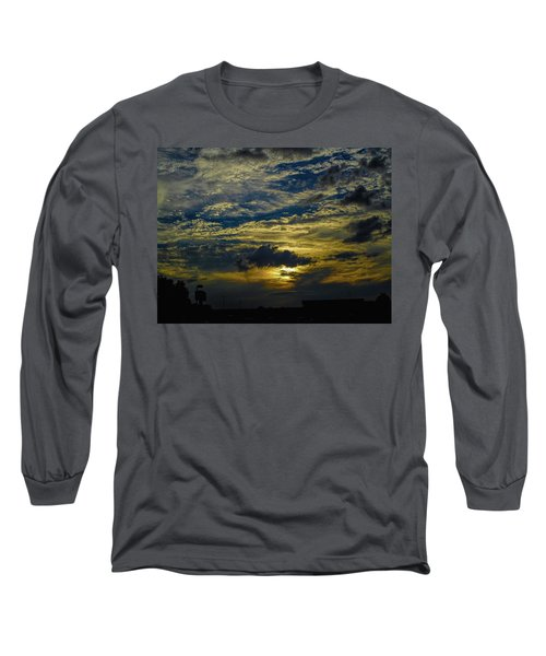 Silver, Blue And Gold Long Sleeve T-Shirt
