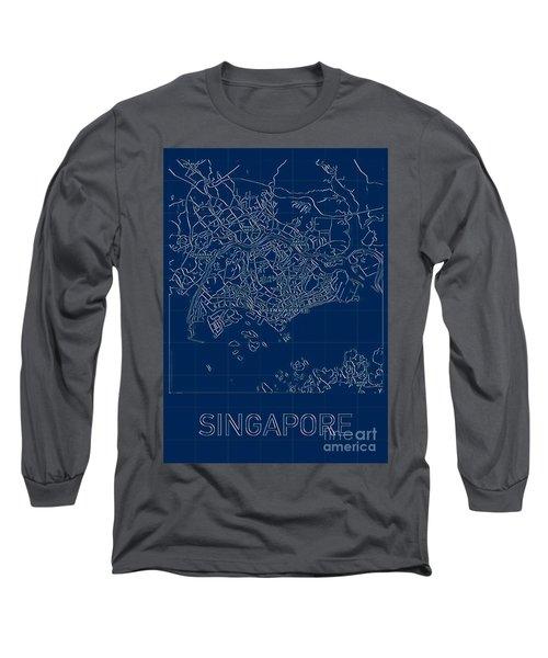 Singapore Blueprint City Map Long Sleeve T-Shirt