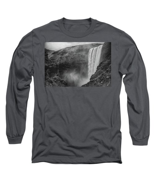 Skogafoss Iceland Black And White Long Sleeve T-Shirt