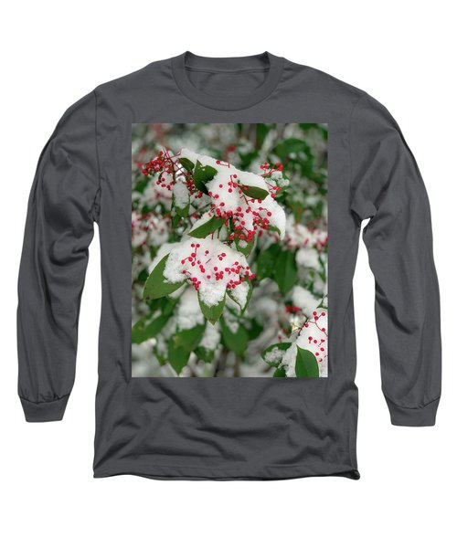 Snow Covered Winter Berries Long Sleeve T-Shirt